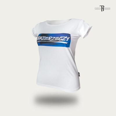 """T-Shirt Damski """"Takie Rzeczy"""" Biały/Niebieski"""