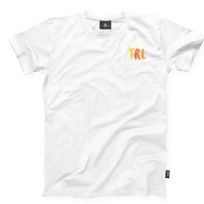 """T-Shirt """"TRL"""" Takie Rzeczy Label      Biało/Pomarańczowy"""